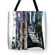 Winter Stairs In Blue Tote Bag