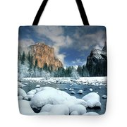 Winter Storm In Yosemite National Park Tote Bag