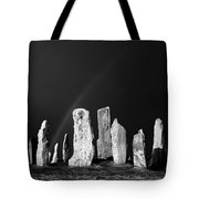 Winter Storm Sky Over Callanish. Outer Hebrides, Scotland.    Black And White Tote Bag