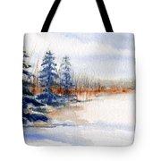Winter Storm Watercolor Landscape Tote Bag