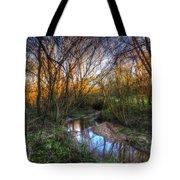 Winter Stream Sunset Tote Bag