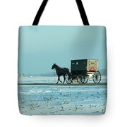 Winter Sun On Amish Buggy Tote Bag