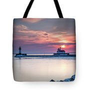 Winter Sunrise Over Canal Park Duluth Mn  Tote Bag