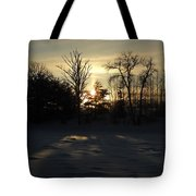 Winter Sunrise Shadows Tote Bag