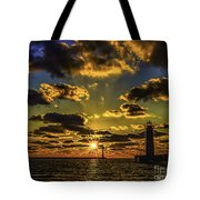 Winter Sunset At Muskegon Channel Light Tote Bag