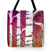 Winter Sunset Birch Tote Bag