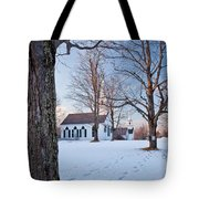 Winter Sunset In New Salem Tote Bag by Susan Cole Kelly