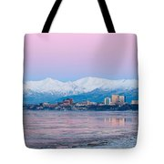 Winter Sunset Over Anchorage, Alaska Tote Bag
