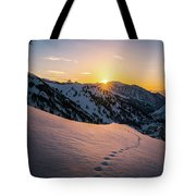 Winter Sunset Over Little Cottonwood Canyon Tote Bag