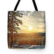 Winter Sunset Over The Mountains Tote Bag