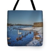 Winter Swan Lake Tote Bag