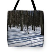 Winter Trees In Snow With Shadow Lines Tote Bag