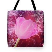 Winter Tulip Red Theme Snow Tote Bag