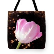 Winter Tulip With Gold Snow And Stars Tote Bag