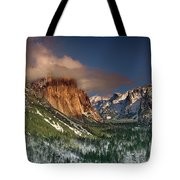 Winter Tunnel View Yosemite National Park  Tote Bag