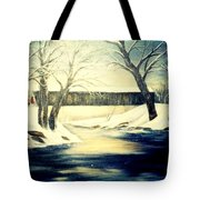 Winter Walk At Bennett's Mill Bridge Tote Bag