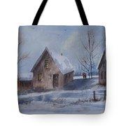 Winter Walk, Watercolor Painting Tote Bag