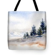 Winter Watercolor Painting Tote Bag