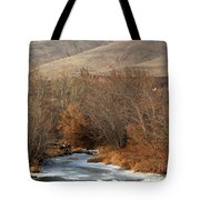 Winter Yakima River With Hills And Orchard Tote Bag