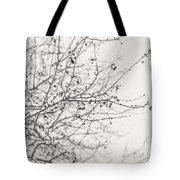 Winter's Berries In Black And White Tote Bag