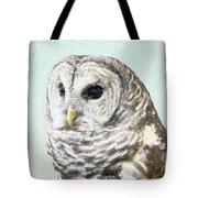 Winters Owl, Barred Hoot Owl Winter Snow Falling Tote Bag