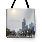 Wintertime - Benjamin Franklin Parkway Tote Bag