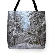 Wintery Country Road Tote Bag