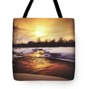 Wintry Sunset Reflections Tote Bag