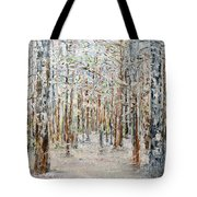 Wintry Woods Tote Bag by Michele A Loftus