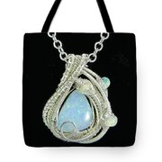 Wire-wrapped Coober Pedy Australian Opal Pendant In Sterling Silver With Ethiopian Opals- Auopss5 Tote Bag