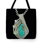 Wire-wrapped Gem Silica Crysocolla Pendant In Sterling Silver With Ethiopian Welo Opals Gmsipss1 Tote Bag