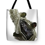 Wire-wrapped Seymchan Pallasite Meteorite Pendant In Tarnish-resistant Sterling Silver W Tourmaline Tote Bag