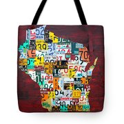 Wisconsin Counties Vintage Recycled License Plate Map Art On Red Barn Wood Tote Bag