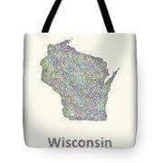 Wisconsin Line Art Map Tote Bag