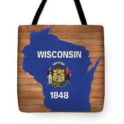 Wisconsin Rustic Map On Wood Tote Bag