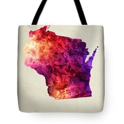 Wisconsin State Map 05 Tote Bag
