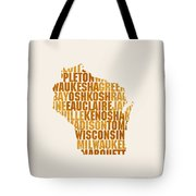 Wisconsin State Outline Word Map Tote Bag