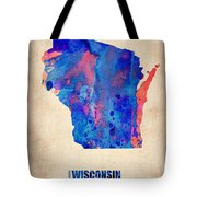 Wisconsin Watercolor Map Tote Bag by Naxart Studio