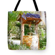 Wishing Well Cambria Pines Lodge Tote Bag by Arline Wagner