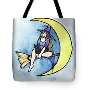 Witch And Moon Tote Bag