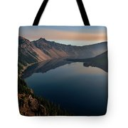 Wizard Island On A Smokey Morning Tote Bag by John Hight