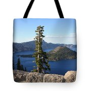 Wizard Island With Rock Fence At Crater Lake Tote Bag