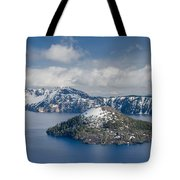 Wizard With Partial Snow Mantle Tote Bag