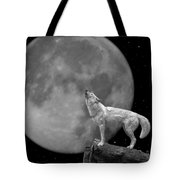 Wolf And Moon Tote Bag