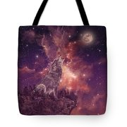 Wolf And Sky Red Tote Bag