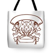 Wolf Cross Bones Banner Retro Tote Bag
