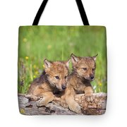 Wolf Cubs On Log Tote Bag