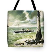 Wolf Rock Lighthouse At Land's End Tote Bag
