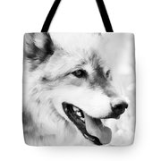 Wolf Smiling Black And White Tote Bag