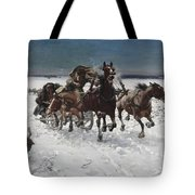 Wolves In Pursuit By Alfred Wierusz-kowalski 1849-1915 Tote Bag